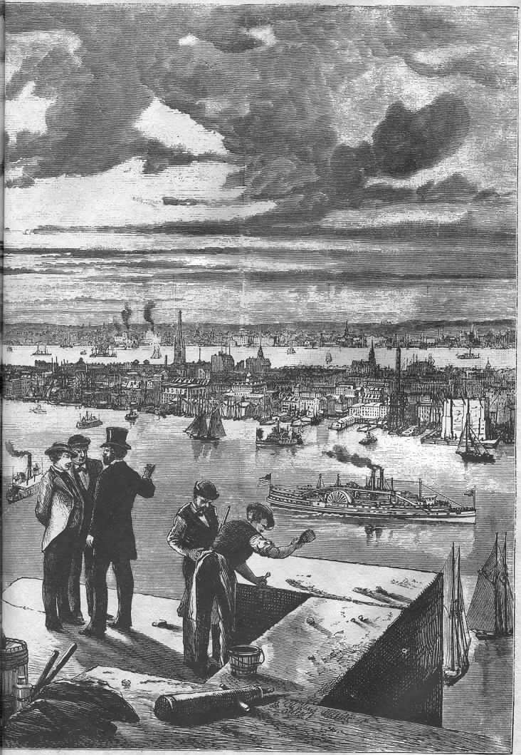 Workers on the Brooklyn Tower, from <i>Harper's Weekly</i>